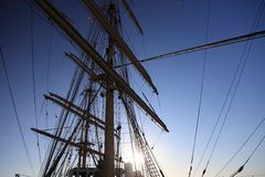 Ship tackles, Rigging on a old frigate Stock Photos