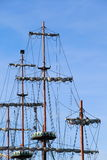 Ship tackles, Rigging on a old frigate Royalty Free Stock Images