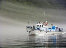 Ship at Teletskoye lake Royalty Free Stock Photography