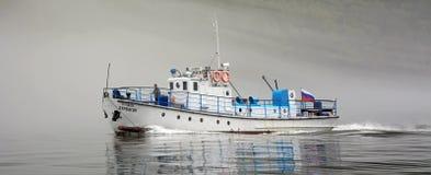 Ship at Teletskoye lake Stock Image