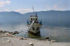 Ship on Teletskoye lake Stock Photo