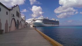 Ship terminal. In Cozumel with shopping area near by Mexico Stock Photo