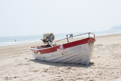 Ship in thailand. Red boat in your sea thailand Royalty Free Stock Photo