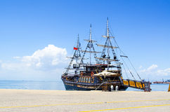 Ship in Thessaloniki. And Blue background Royalty Free Stock Image