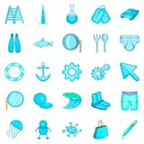 Ship things icons set, cartoon style. Ship things icons set. Cartoon set of 25 ship things vector icons for web isolated on white background Stock Photography