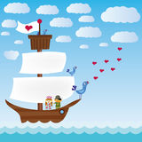Ship with three singing birds in sea Stock Photo