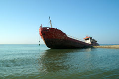 The ship thrown out at coast of the black sea Stock Image