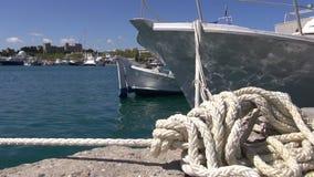 Ship tied in Rhodes island harbor, Greece. Ship tied in Rhodes island historical harbor, Greece stock video
