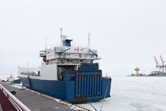 Ship to the icy dock Stock Images