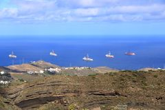 Ship to oil and gas drilling stay on port, Gran Canaria Island. Ship to oil and gas drilling stay on port at Gran Canaria Island royalty free stock photo