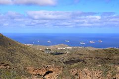 Ship to oil and gas drilling stay on port, Gran Canaria Island. Ship to oil and gas drilling stay on port at Gran Canaria Island royalty free stock image