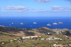 Ship to oil and gas drilling stay on port, Gran Canaria Island. Ship to oil and gas drilling stay on port at Gran Canaria Island stock photography