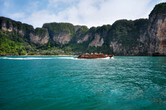 Ship tourists traveling between islands in Thailand. Krabi Royalty Free Stock Image