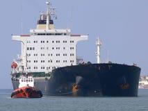 Ship Towage. Tugboat towage operation Stock Image