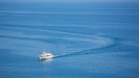Ship trace. On the Black sea stock photos