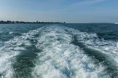 Ship track  in the Venetian lagoon,  Adreatic sea, Italy Royalty Free Stock Photos