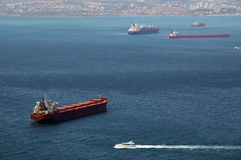 ship traffic in Gibraltar Bay Royalty Free Stock Image