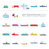 Ship transportation icons set Stock Photo
