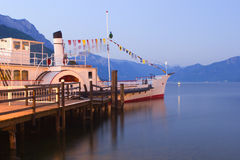 Ship on the traunsee lake Stock Photos