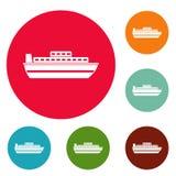 Ship travel cruise icons circle set vector. Isolated on white background Stock Images