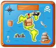 Ship travelling at sea with map Stock Image