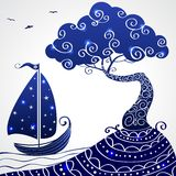 Ship tree. Illustration beautiful of the silhouette tree and ship Stock Photography