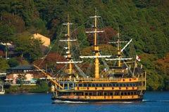 Ship trip in ashi lake, Japan. Ashi lake in Hakone, Japan at autumn tourism season royalty free stock photography