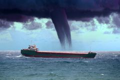 Ship in a tropical cyclone tornado. Hurricane Royalty Free Stock Image