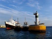 Ship and tug boats royalty free stock photo