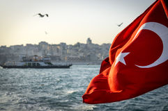 Ship with turkish flag. Passing Bosphorus in Istanbul Stock Image
