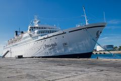 Freewinds, Cruise Liner of Scientology - currently concerning measles under quarantine. The ship, in turn, is the home of the Flag Ship Service Organization FSSO stock photography