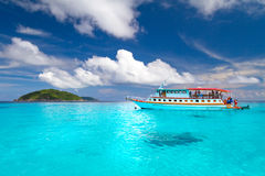 Ship on the turquoise water of Andaman Sea Royalty Free Stock Photography