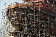 Ship under construction with scaffolding Royalty Free Stock Images