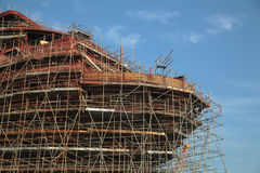 Ship under construction with scaffolding Royalty Free Stock Photography