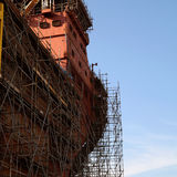 Ship under construction with scaffolding Stock Photo