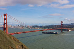 Ship under Golden Gate Bridge Royalty Free Stock Photos