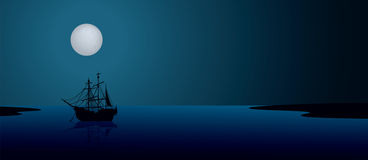 Ship under the moonlight. Stock Photo