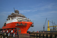 Ship under repairs with scaffolding Stock Images
