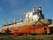 Ship undergoing repairs Stock Images