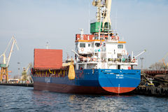 Ship during unloading Royalty Free Stock Photo