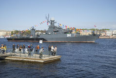 The ship `Urengoy` at the festival in honor of Victory day. Saint Petersburg Stock Photography