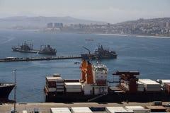 Ship in Valparaiso Harbour Royalty Free Stock Photo