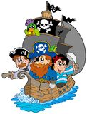 Ship with various cartoon pirates Stock Photos