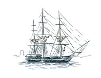 Ship vector sketch line art illustration isolated vector illustration