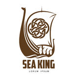 Ship Viking logo Royalty Free Stock Image