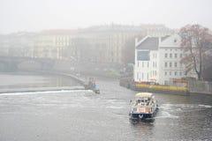 Ship on Vitava river in Prague Stock Image