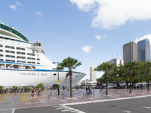 The ship Voyager of the Seas, Sydney. Sydney - February 27, 2016: Voyager of the Seas - the passenger 17-deck vessel Voyager class in the port of Sydney, 27 Royalty Free Stock Photo