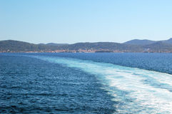 Ship wake. Water splashing up behing a ship, Preko ( island Ugljan), Adriatic sea, Croatia Stock Image