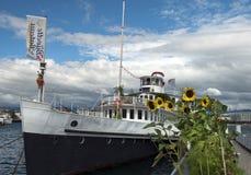 Ship for walks on Lake Geneva, Switzerland Royalty Free Stock Image