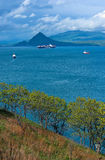 The ship was in the Bay of Nakhodka at anchor. Far East of Russia. East (Japan) Sea. 19.05.2015 Stock Photos